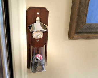 Mahogany and Stainless Steel Cap Catcher Bottle Opener - Magnetic or Wall-Mount