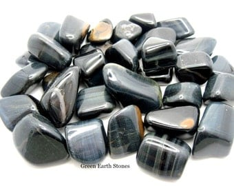 Large Blue Tigers Eye Tumbled Stone ONE, Premium, Gemstone, Feng Shui, Artisan, Crystal Healing, Stones