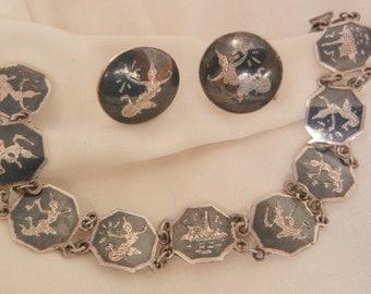 Siam sterling Mekkala Goddess of lightning Bracelet and Earring set