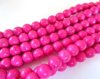 Turquoise beads 8mm crackled howlite gemstone hot pink beads 1 strand apx.48 beads 02K