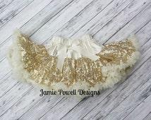 Gold Sequins Pettiskirt-Baby Skirt-Toddler Skirt-Girls Ivory Skirt-Lace Petti-1st Birthday Outfit-Tutu skirt-Extra Fluffy Skirt-Sequin Skirt