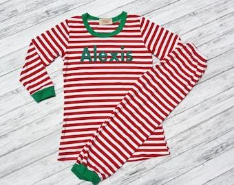 Personalized Christmas Pajamas- Red and White Striped Pj's with Name-  PJ- Kids Pajamas- Monogramed Pajamas-Striped Childrens Pajamas- Kids