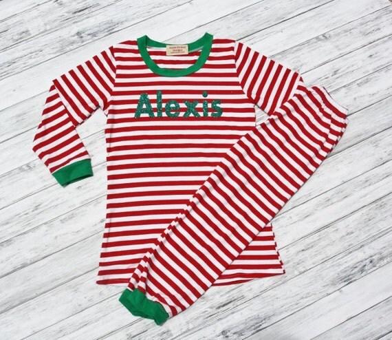 Personalized Girls Pajamas-Pink and White Striped Pj's