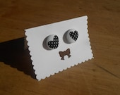 15 mm Surgical Steel Fabric Stud Earrings, Black and White Polka Dot Hearts
