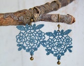 Canary Lace Earrings-yellow-coral pink-denim blue-red-dangle-dancingleafdesgin