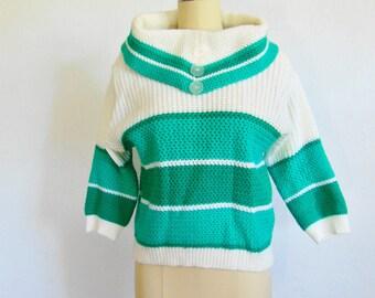 60s acrylic GREEN STRIPE  ski sweater size medium