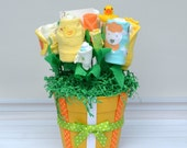Gender Neutral Baby Gift Basket, Baby Shower Gift, Unique Gift for Newborn Girl or Boy, Gender Neutral Baby Gift, Made of Baby Clothing