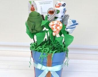 Sports Baby Shower Gift, Baby Gift Idea, Baby Boy Newborn Gift Basket, Unique Baby Shower Gift, Baby Layette Bodysuit, Socks, Washcloths