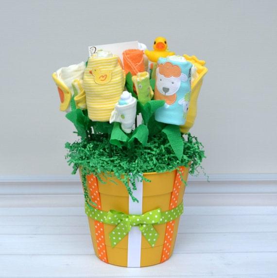 Baby Gift Basket Etsy : Baby shower gift unisex flower by babyblossomco