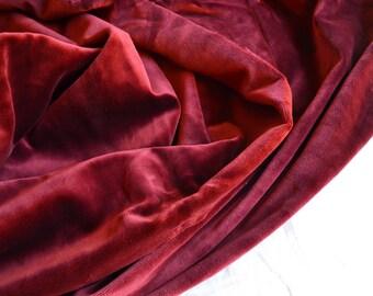 Vintage Velvet Upholstery Fabric - Burgundy Wine High End Cotton