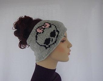 headband with skulls, knit headband with skulls, light weight headband, ear warmer with skulls,knitted ear warmer