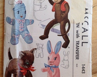 Vintage 1940s Stuffed Sock Toys/Doll Pattern McCall 1443 Cat, Bunny, Monkey and Doll