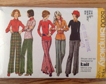 Vintage 1970s Simplicity 5200 Blouse, Top and Pants • size 14