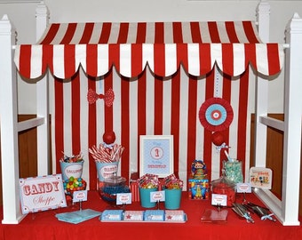 Canopy for children's party candy stand, wedding cake stand, red and white, black and white, other colors available.