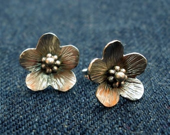 Lovely Flowers Sterling Silver Earrings Handmade Metalwork