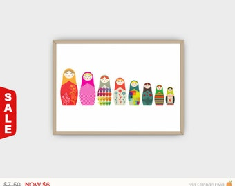Digital Download Russian Dolls Big to Small A4