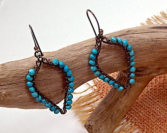 Turquoise Boho.. Tear Drop, Hand Forged,  Urban, Earrings mhfe56