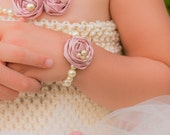 Cream and Dusty Rose Pearl Rosette Bracelet, Beaded w Satin Fabric Baby Girl photo prop, baby shower gift, Ivory Light pink, Newborn Infant