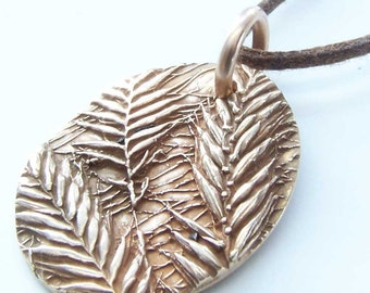 Bronze Botanical Pendant, Geometric Wild Grass Necklace, Natural Jewelry, For Her Wife, 8th Anniversary, Crested Wheatgrass