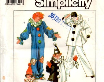 Clown Harlequin Costumes and Hats Pants Top Neck Ruffle Halloween Theater Uncut Unused Sewing Pattern Child Sizes 2 4 Simplicity 7649
