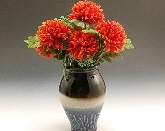 Pottery Vase Blue Decorative flower display Porcelain by Mark Hudak