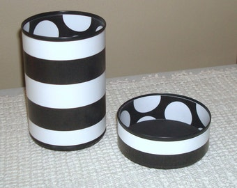 Black and White Desk Accessories - Pencil Holder - Stripes and Polka Dots Desk Organizer - Dorm Decor - 654