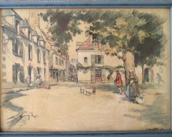 Vintage Colonial Print * Town Scene * Framed And Signed