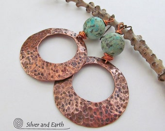 Large Copper Hoop Earrings, African Turquoise Earrings, Hammered Hoops, Big Copper Earrings, Earthy Modern Boho Chic Tribal Artisan Jewelry
