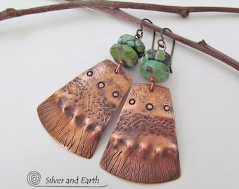 Copper & Turquoise Earrings, Tribal Earrings, Handmade Artisan Metalwork Jewelry, Boho Chic Earrings, Bold Unique Jewelry, Turquoise Jewelry