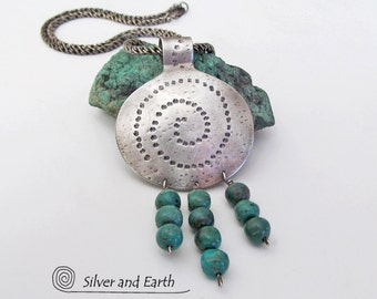 Turquoise Necklace, Sterling Silver Necklace, Southwestern Jewelry, Unique Handmade Artisan Silver Jewelry, Genuine Turquoise Jewelry