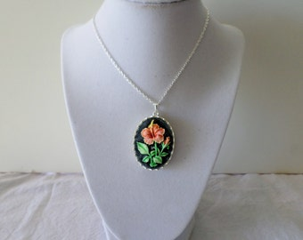 Cameo Pendant Necklace with Hand Painted Flowers