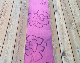 Beautiful Hannah Shades of Burgundy  Discharge Dyed Floral Cotton Table Runner