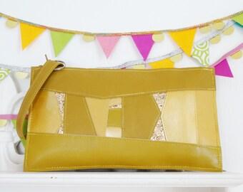 Mustard Yellow leather & glitter clutch, glitter clutch, statement bag, mustard leather, yellow accessory