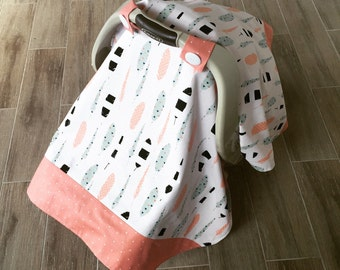 Car Seat Canopy with Coral and Mint Feathers and Coral Polka Dot Accent and Backing - FREE SHIPPING in USA