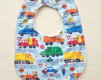 Baby Bib with Organic Cotton. Work Trucks. Free Shipping