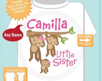 Little Sister Monkey Shirt or Onesie, Personalized Little Sister with Big Sister and Big Brother, Three sibling monkeys (12072011a)
