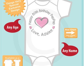 Happy Birthday PapPap Shirt or Onesie with Pink Heart Personalized with Grandpa's Age (09022015a)
