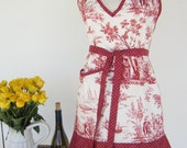V-Neck Flirty Apron - Brick red and white french toile print.