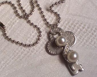 Pearl Swirl Key Pearl Rhinestone Necklace by ceeceedesigns on etsy