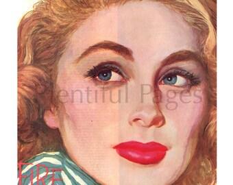 1950's Vintage Magazine Illustration, Retro Illustration, Color Illustration, 1950's Lady, 1950's Beauty, Great for Framing or Collage.