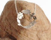 Dancing leaves Hoop Necklace - Handmade Silver Necklace - Circle of silver leaves