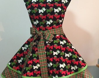Scotties in Santa Hats and Scarves Two Tiered Twirly Woman's Holiday Apron