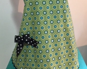 Flirty Full Apron with Lower Flounce and Accent Bow in Apple Green, Black and Teal