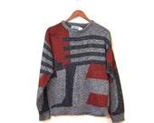 BTS SALE Vintage 80s Unisex Nu Wave THEO Cosby Knit Sweater s m l