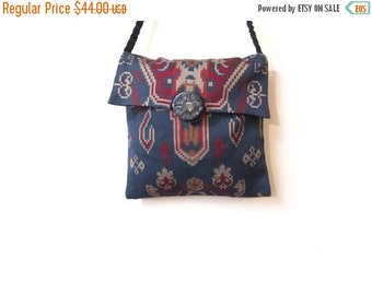 BTS SALE Vintage 80s Woven Cotton Southwestern Ethnic Print Shoulder Purse
