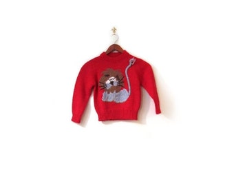 BTS SALE Vintage 70s Handmade Learned LION Children's Knit Red Sweater