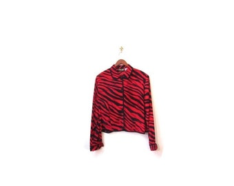 BTS SALE Vintage 90s Black and Red Cropped TIGER Stripes Lightweight Collared Button Up Jacket m l