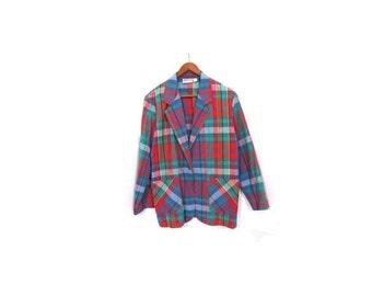 BTS SALE Vintage 80s Colorful Tartan Plaid CAMPUS Button Up Preppy Chic Cotton Blazer s m