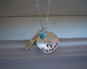 Birth announcement Necklace - Baby Coming soon Necklace -Soon To Be Grandma Necklace - Grandma Coming Soon Necklace-Free Gift With Purchase