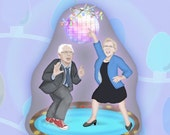 Holiday Disco Party with Bernie Sanders and Elizabeth Warren Paper Ornament